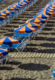 Summer time, parasols on the beach Royalty Free Stock Images