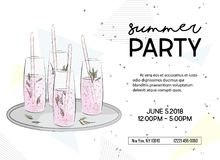Summer time party invitation. Alcohol sparkle drinks poster, Vacation vibes graphics. Greeting card with classes of Stock Image