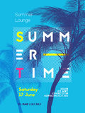 Summer time party poster design template Royalty Free Stock Image