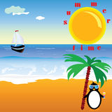 Summer time with penguin vector illustration Royalty Free Stock Photo