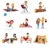 Summer time people activities on picnic, grill or barbecue, man and woman sitting by the fire, boy pitching a tent, girl. Summer time people activities during Royalty Free Stock Photography
