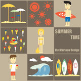 Summer Time People Flat Cartoon Stock Images
