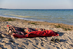 Summer time. Personal things on the shore of Black Sea, in Vama Veche, Constanta, Romania Stock Images