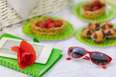 Summer time: picnic on the grass - cake and berries, ebook and n Stock Photos