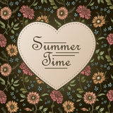 Summer time postcard template with floral backgrouund Royalty Free Stock Photos