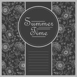 Summer time postcard template with floral backgrouund Stock Image