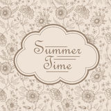 Summer time postcard template with floral Stock Image