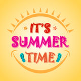 Summer Time Poster, Banner or Flyer design. Beautiful Poster, Banner or Flyer design with stylish text It's Summer Time on shiny yellow background Stock Photography