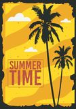 Summer Time Poster Design With Palm Trees Illustration. Summer Time  Poster Design With Palm Trees Illustration. Vector Graphic Stock Photography