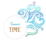 Summer time poster with octopuses tentacles. In vintage style, vector Stock Image