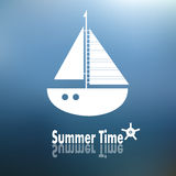 Summer time poster with ship stock illustration
