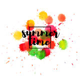 Summer Time poster. Summer Time lettering on abstract background with spray of watercolor paint.  Royalty Free Stock Image