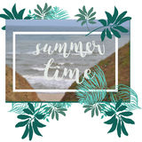 Summer Time poster. Text with frame on tropical leaves background. Trendy vector illustration. Royalty Free Stock Photos