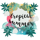 Summer Time poster. Text with frame on tropical leaves background. Trendy vector illustration. Stock Photography