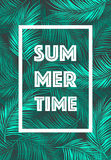 Summer Time poster Text leaves background vector Royalty Free Stock Photo