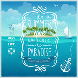 Summer time poster with tropical background. Stock Photos