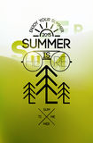 Summer time poster. Typographical design with blurred landscape. Vector illustration. Eps 10. Stock Images