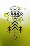 Summer time poster. Typographical design with blurred landscape. Vector illustration. Eps 10. Stock Images