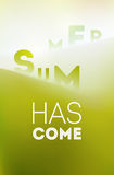 Summer time poster. Typographical design with blurred landscape. Vector illustration. Eps 10. Royalty Free Stock Photos