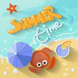 Summer time poster. Vector illustration with Sea Royalty Free Stock Photos