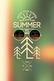 Summer time poster. Vector typographical design with blurry background. Eps 10. Royalty Free Stock Photo