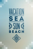 Summer time poster. Vector typographical design on blurry background with folk ornaments. Eps 10. Royalty Free Stock Image