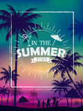 Summer time poster wallpaper for fun party invitation banner template Royalty Free Stock Image