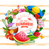 Summer time poster wallpaper for fun party invitation banner template. Illustration of Summer time poster wallpaper for fun party invitation banner template Royalty Free Stock Photo