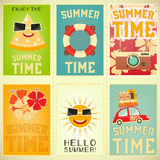 Summer Time Posters Set. Summer Time, Vacation Posters Set. Beach Party. Vector Illustration Royalty Free Stock Image