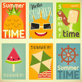 Summer Time Posters Set. Summer Time, Vacation Posters Collection. Beach Party. Vector Illustration Royalty Free Stock Photo