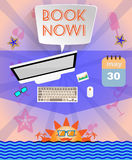 Summer time purple infographic, with book now text, icons and travel accessories Stock Images