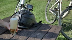 Summer time relax with bicycles and sport cameras countryside. Summer time relax with bicycles and sport cameras stock video