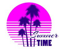 Summer time retro futuristic landscape with palm trees. Neon sunset in the style of 80s. Synthwave retro background. Retrowave logo. Vector illustration Stock Images