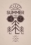 Summer time retro grunge poster. Vector typographical design. Royalty Free Stock Photography