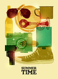 Summer time retro poster. Vector design with vintage things. Eps 10. Royalty Free Stock Photography