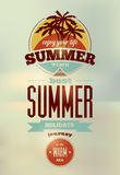 Summer time retro poster. Vector typographical design with blurry background. Eps 10. Stock Photos