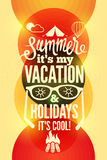 Summer time retro poster. Vector typographical design with colorful circle background. Eps 10. Stock Photography