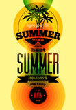 Summer time retro poster. Vector typographical design with colorful circle background. Eps 10. Royalty Free Stock Image