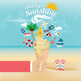 Summer time it`s holiday relax and traveling on beach. Summer time it`s holiday relax and traveling on beach in summer.people holding ice cream fulfill and icon Royalty Free Stock Photo