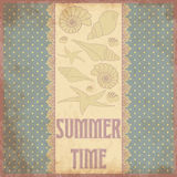 Summer time scrap card in vintage style. Vector illustration royalty free illustration