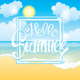 Summer time sea view background. Ocean and palm trees seaside blue design. Beautiful beach with palm trees and sun. Vector illustr Royalty Free Stock Image