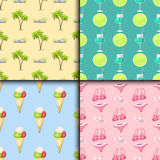 Summer time seamless pattern beach sea shore realistic accessory vector illustration sunshine travel Stock Images