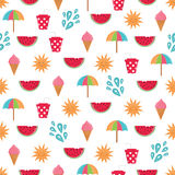 Summer time  seamless pattern with colorful beach elements Stock Image