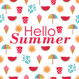 Summer time  seamless pattern with colorful beach elements Stock Photos