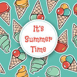 It is summer time Seamless pattern with icecreams Stock Photography
