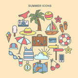 Summer Time. Set of Summer Icons. Travel Background Stock Image