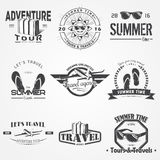 Summer time set. Tourist agency. Travel around the world. Detailed elements. Typographic labels, stickers, logos and Royalty Free Stock Photo