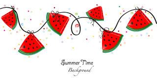 Summer time. Slices of watermelon vector illustration banner Royalty Free Stock Photo