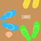 Summer time. Slippers. Banner. Vector Stock Photography