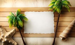 Summer time. Summer still life with empty paper card Royalty Free Stock Photography